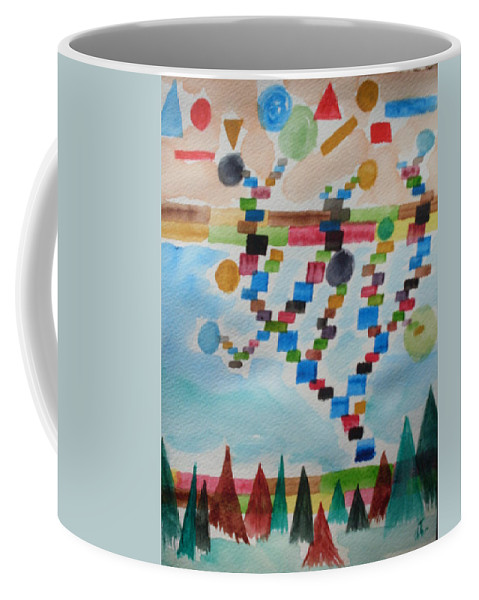 Abstract Coffee Mug featuring the painting Tetrus Meets Nature by Warren Thompson