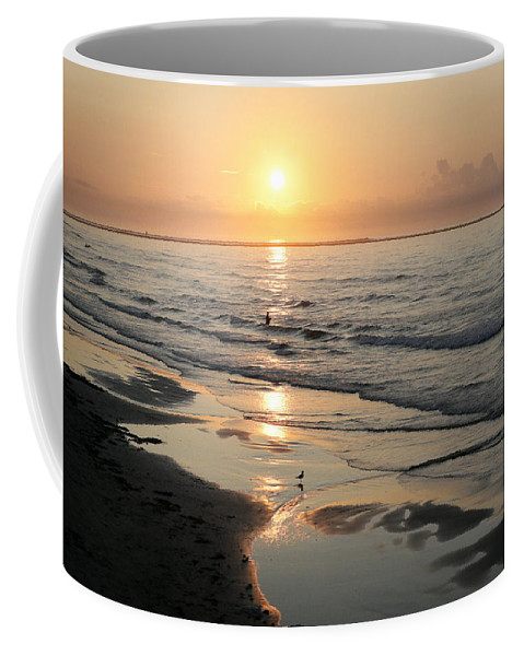 Water Coffee Mug featuring the photograph Texas Gulf Coast At Sunrise by Marilyn Hunt