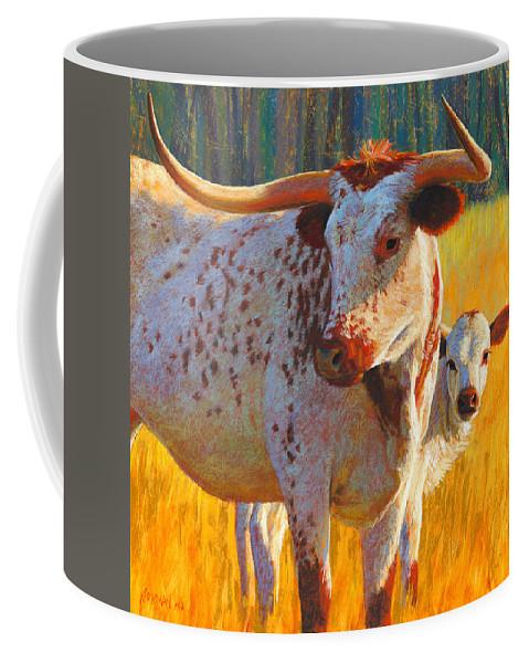 Rita Kirkman Coffee Mug featuring the pastel Texas Pride and Progeny by Rita Kirkman