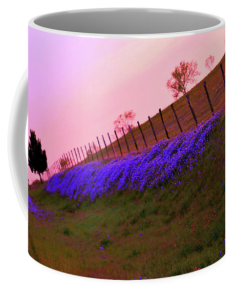 Sunset Over Bluebonnets Coffee Mug featuring the digital art Texas Sherbet Country by Pamela Smale Williams