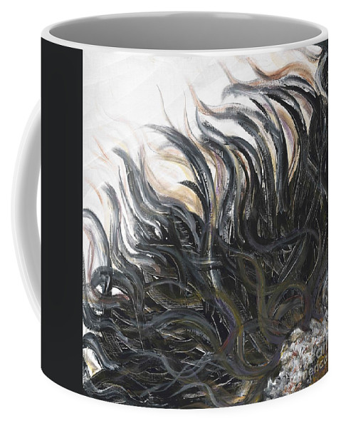 Texture Coffee Mug featuring the painting Textured Black Sunflower by Nadine Rippelmeyer