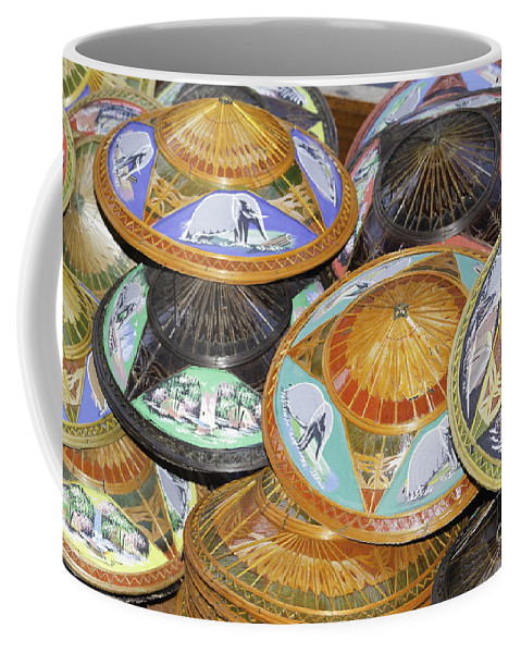 Art Coffee Mug featuring the photograph Thailand Hats by Anthony Totah