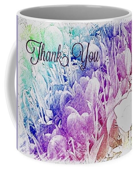 Thank You Greetings Card Rainbow Tulips Original Photograph By Breena Briggeman Floral Nature Rainbow Coffee Mug featuring the photograph Thank You by Breena Briggeman