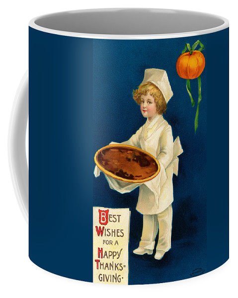 Vintage Coffee Mug featuring the painting Thanksgiving Card by Ellen Hattie Clapsaddle