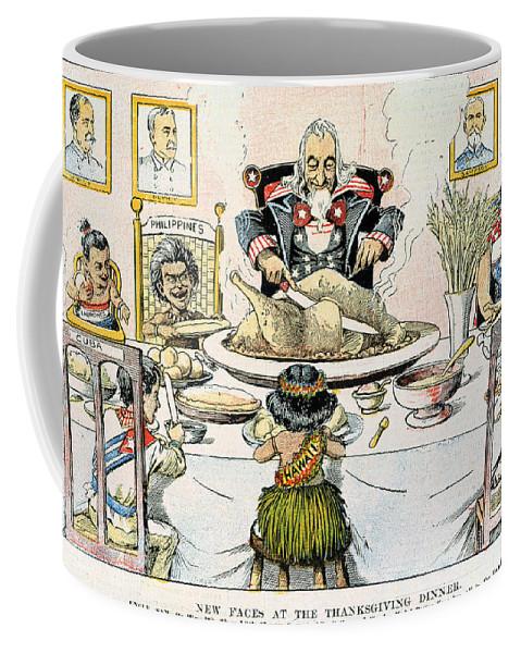 1898 Coffee Mug featuring the photograph Thanksgiving Cartoon, 1898 by Granger