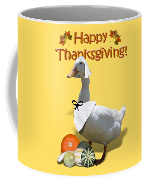 Thanksgiving Coffee Mug featuring the mixed media Thanksgiving Pilgrim Duck by Gravityx9 Designs
