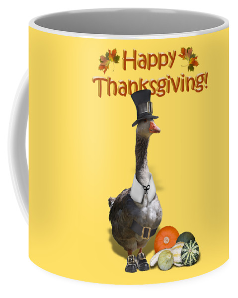 Thanksgiving Coffee Mug featuring the mixed media Thanksgiving Pilgrim Goose by Gravityx9 Designs
