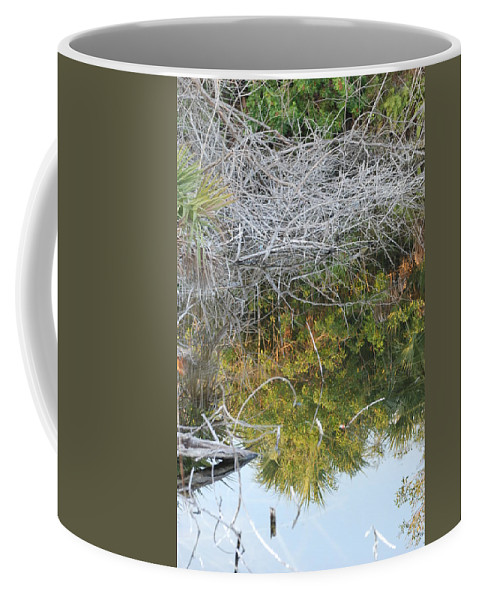 Green Coffee Mug featuring the photograph Thatch Of Wood by Rob Hans