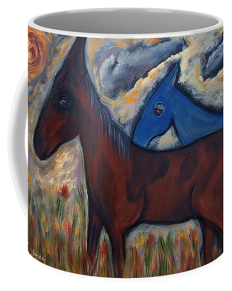 Katt Yanda Original Horse Oil Painting Mexican Themed Sunset Dusk Flower Field Brown Blue Horse Clouds Coffee Mug featuring the painting The 1st Mexican Ponies by Katt Yanda