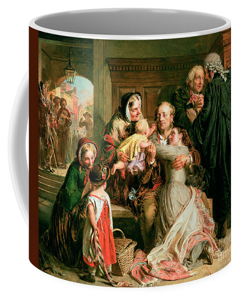 The Coffee Mug featuring the painting The Acquittal by Abraham Solomon