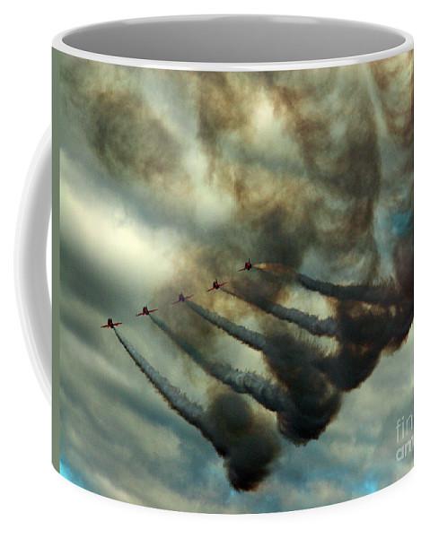 Red Arrows Coffee Mug featuring the photograph The Air Pollutors by Angel Tarantella