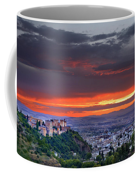 The Alhambra Coffee Mug featuring the photograph The Alhambra And Granada City by Guido Montanes Castillo