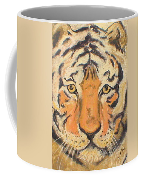 Pastel Coffee Mug featuring the drawing The Amber Stare by Cori Solomon