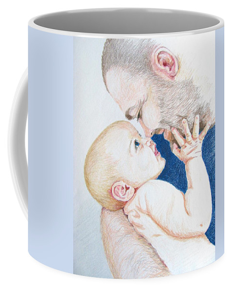 Portrait Coffee Mug featuring the drawing The Apple Of My Eye by Linda Williams