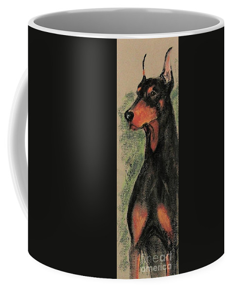Doberman Pinscher Coffee Mug featuring the drawing The Aristocrat by Cori Solomon