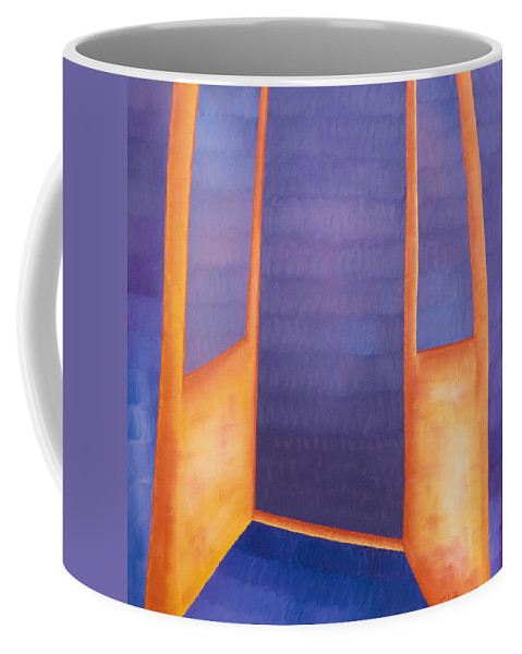 Death Coffee Mug featuring the painting The Arrival by Judy Henninger