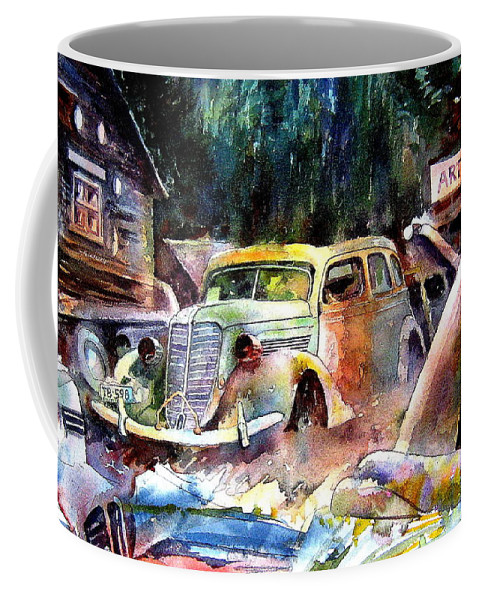 Cars Coffee Mug featuring the painting The Art Installation by Ron Morrison