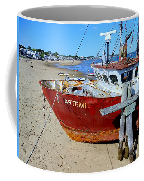 Ship Coffee Mug featuring the photograph The Artemis Aground by Ed Weidman