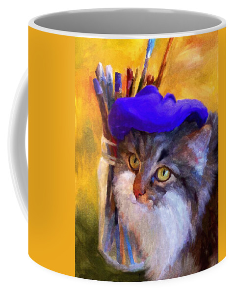 Cat Coffee Mug featuring the painting The Artist by Jai Johnson