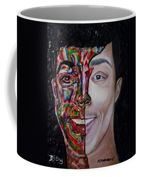 Portrait Coffee Mug featuring the mixed media The Artist Within by Deborah Stanley