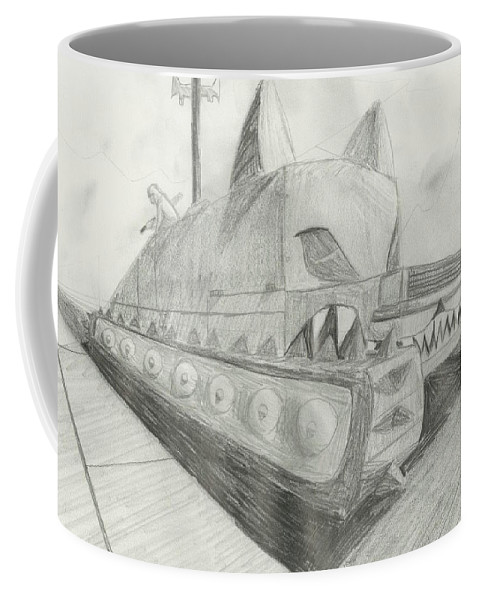 Post-apocalyptic Coffee Mug featuring the drawing The Attack Tank by Amber Opphile