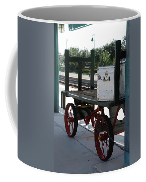 Train Station Coffee Mug featuring the photograph The Baggage Cart And Truck by Rob Hans