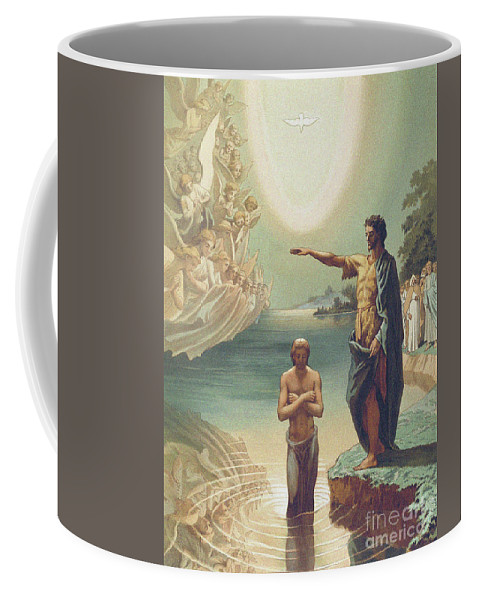 Dove Coffee Mug featuring the drawing The Baptism Of Christ by Grigori Grigorevich Gagarin