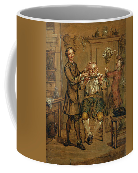 Marcellus Laroon The Younger Coffee Mug featuring the painting The Barber by Marcellus Laroon the Younger