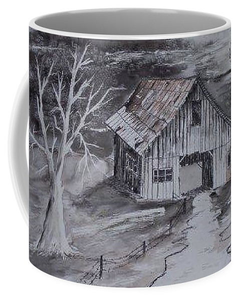 Watercolor Landscape Painting Barn Pen And Ink Painting Drawing Coffee Mug featuring the painting The Barn Country Pen And Ink Drawing by Derek Mccrea