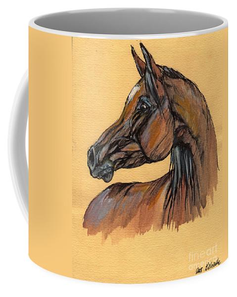 Horse Coffee Mug featuring the painting The Bay Arabian Horse 10 by Angel Ciesniarska