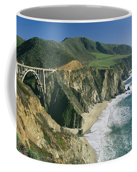 Bixby Bridge Coffee Mug featuring the photograph The Beach And Shoreline Along Highway 1 by Phil Schermeister