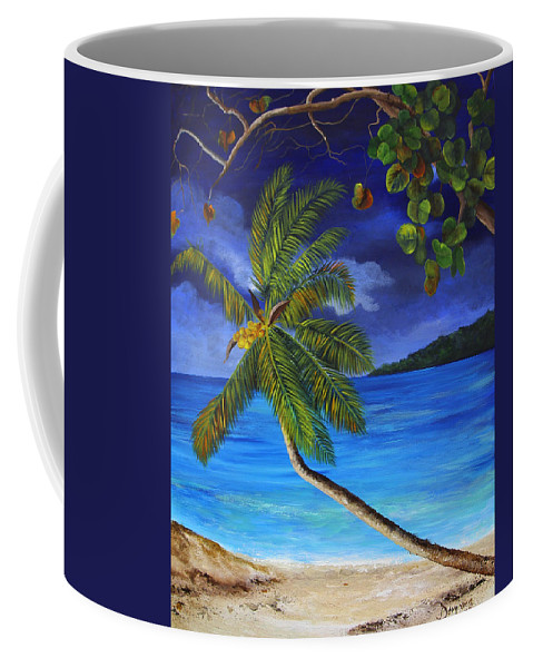 Beach Coffee Mug featuring the painting The Beach At Night by Dominica Alcantara
