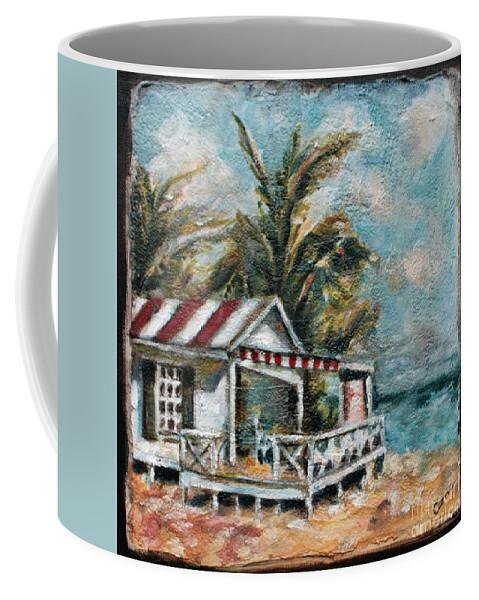 Beach Coffee Mug featuring the mixed media The Beach by Carrie Joy Byrnes