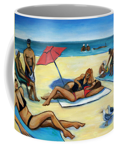 Beach Scene Coffee Mug featuring the painting The Beach by Valerie Vescovi