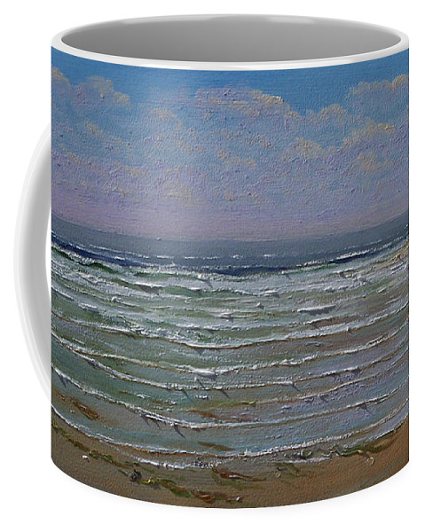 Seascape Coffee Mug featuring the painting The Beachcomber by Frank Wilson