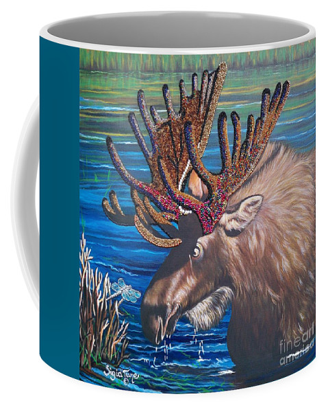 Moose Coffee Mug featuring the painting Big Bad Bead Dealer  Flying Lamb Productions by Sigrid Tune
