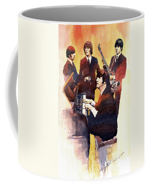 Watercolor Coffee Mug featuring the painting The Beatles 01 by Yuriy Shevchuk