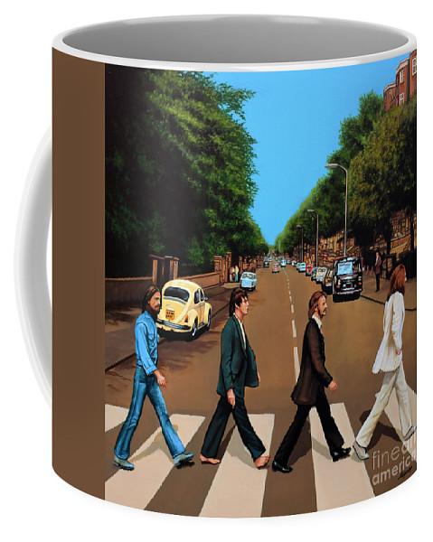 The Beatles Coffee Mug featuring the painting The Beatles Abbey Road by Paul Meijering