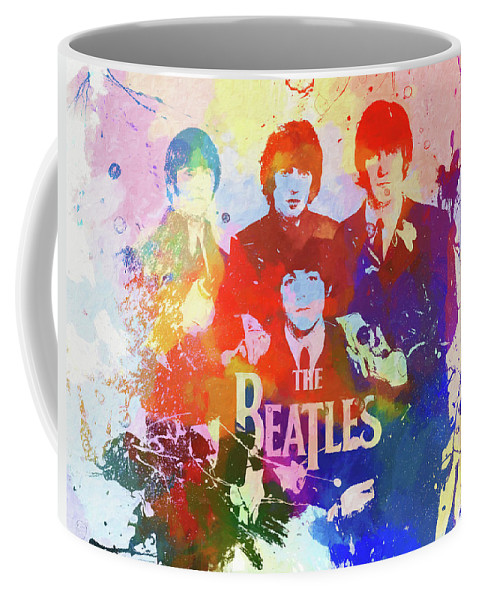 The Beatles Watercolor Coffee Mug featuring the painting The Beatles Paint Splatter by Dan Sproul