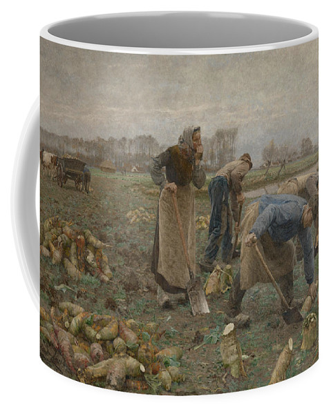 19th Century Art Coffee Mug featuring the painting The Beet Harvest by Emile Claus