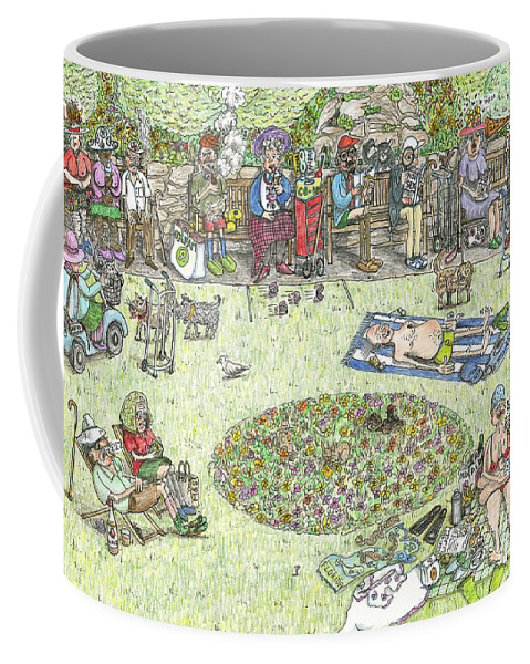 Old People Coffee Mug featuring the painting The Benchioner Zone Seafront Gardens by Steve Royce Griffin