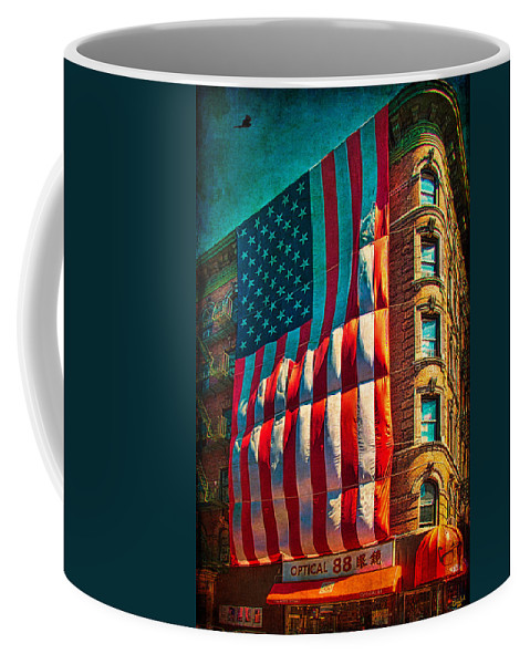 America Coffee Mug featuring the photograph The Big Big Flag by Chris Lord