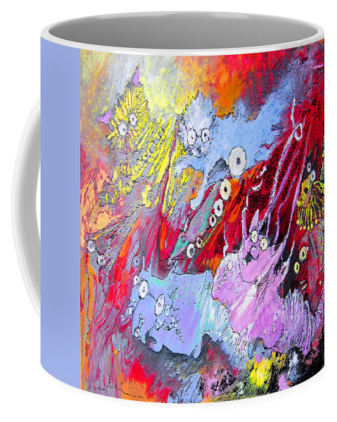 Fantasy Coffee Mug featuring the painting The Big Spectacles Show by Miki De Goodaboom