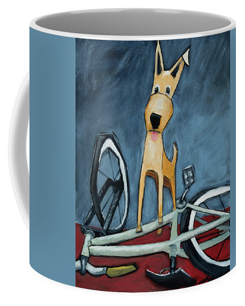 Dog Coffee Mug featuring the painting The Biker by Shari Michaud