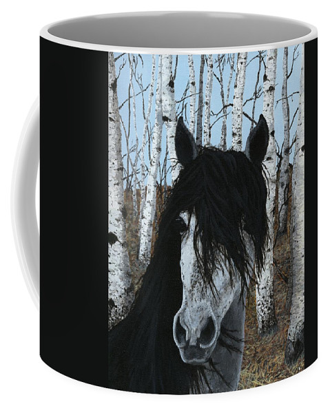 Horse Coffee Mug featuring the painting The Birch Horse by Jennifer Nilsson