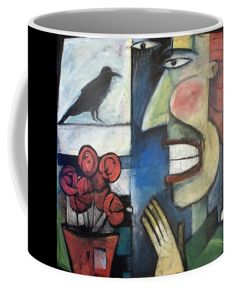 Bird Coffee Mug featuring the painting The Bird Watcher by Tim Nyberg