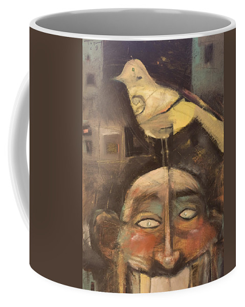 Bird Coffee Mug featuring the painting The Birdman Of Alcatraz by Tim Nyberg