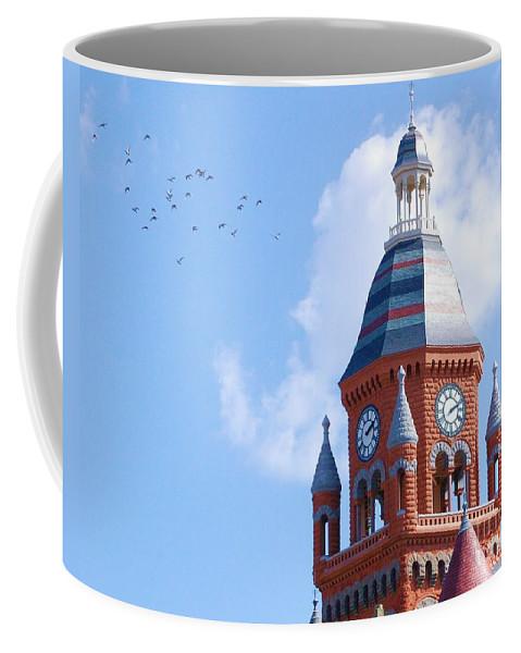 Clock Coffee Mug featuring the photograph The Birds by Debbi Granruth
