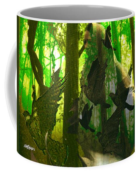 Birdwoman Coffee Mug featuring the digital art The Birdwoman by Seth Weaver