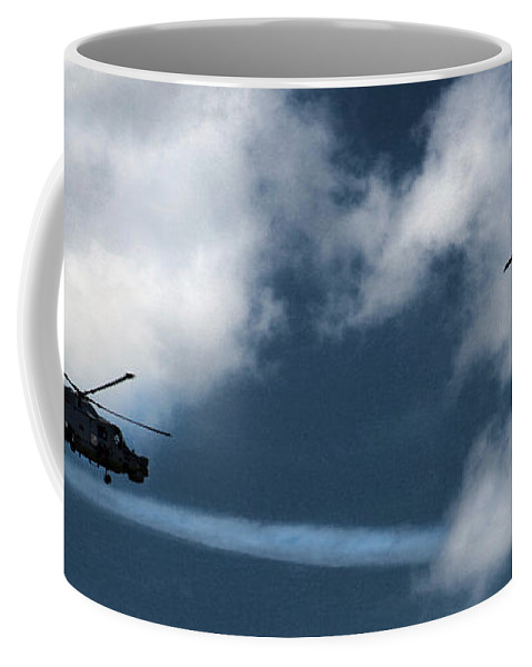 Aerobatic Coffee Mug featuring the photograph the Black Cats air display by Angel Tarantella